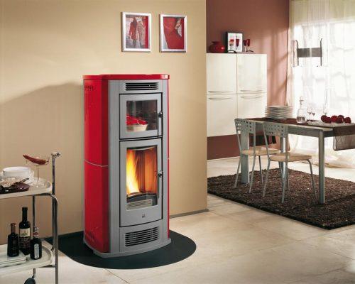 rode pelletkachel Piazzetta met oven